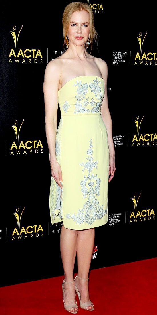 At the AACTA Awards, Kidman arrived in an embroidered Erdem dress, statement earrings and nude Brian Atwood stilettos.