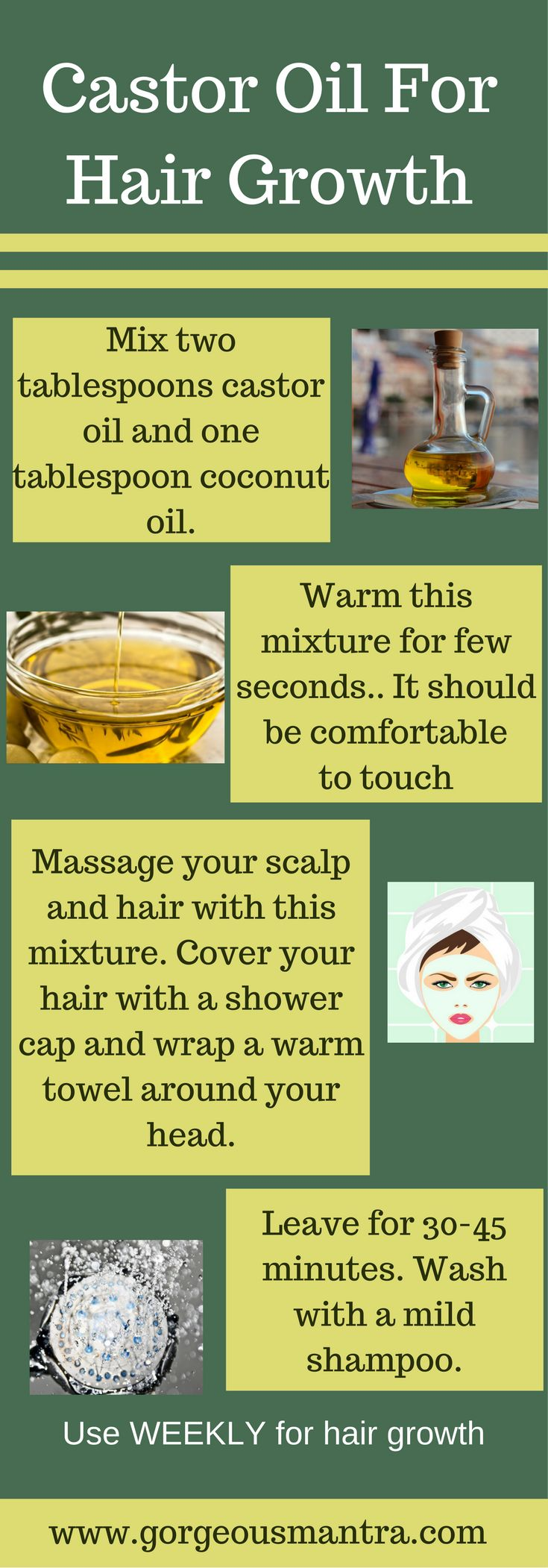 Use castor oil for hair growth. This weekly deep conditioning treatment is great for hair growth. Read more such ways of using castor oil for hair!