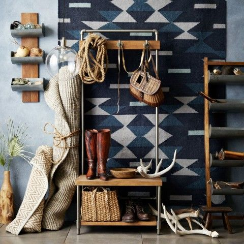 small entryway antlers southwest tapestry rug contemporary shelves