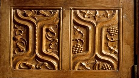 Wood carved panel at Tudor period Barrington Court in Somerset