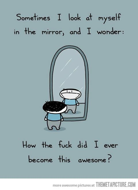 Sometimes I look in the mirror and wonder how I became this awesome.