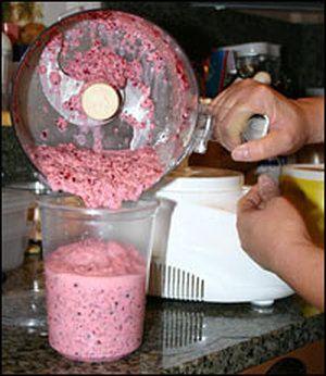 Preparing Mama Stamberg's cranberry relish.