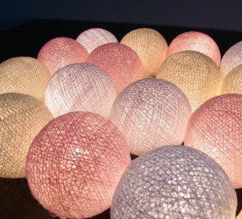 20/Set Bola de Algodón Luz de la Secuencia de Color Blanco Crema Rosa Exterior…