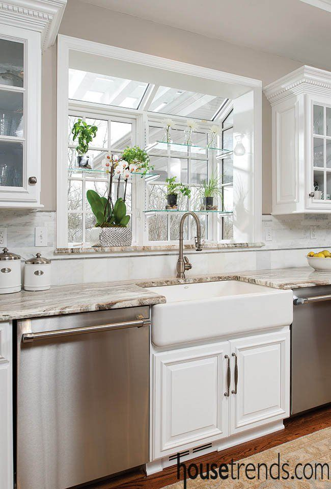 Farmhouse sink with a custom view