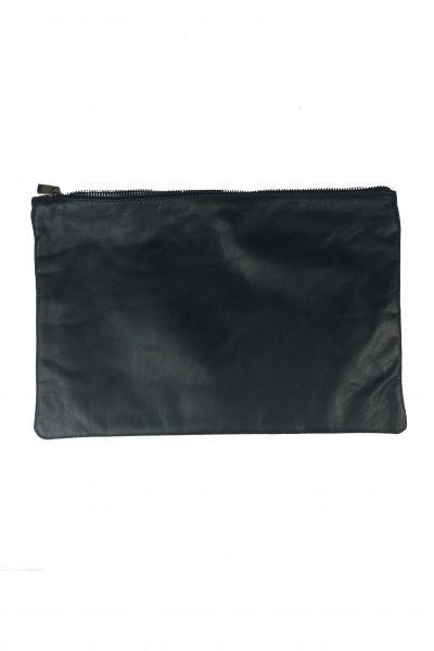 Pochette zippée cuir noire