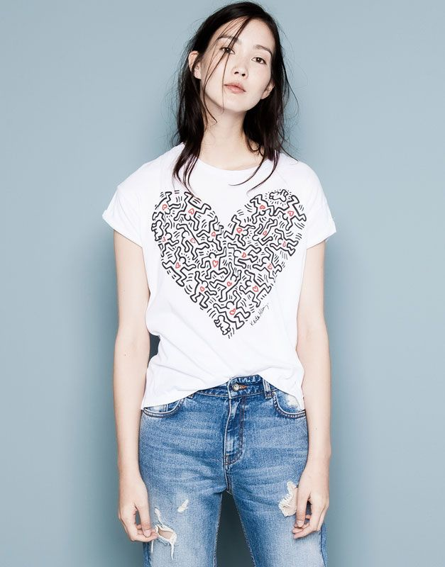 Pull&Bear - woman - new products - keith haring print t-shirt - white - 09231360-I2014