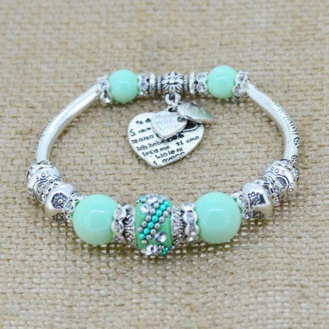 Gorgeous Silver Glass Bead Charm Bracelet