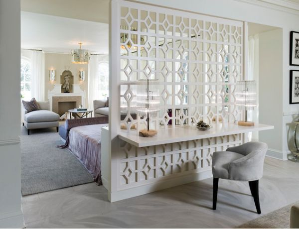 Open patterned dividing wall with desk built-in