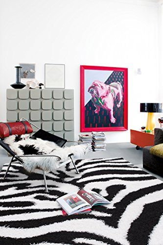 Cozy Shag Collection Black And White Zebra Design Shag Ru... Https:/