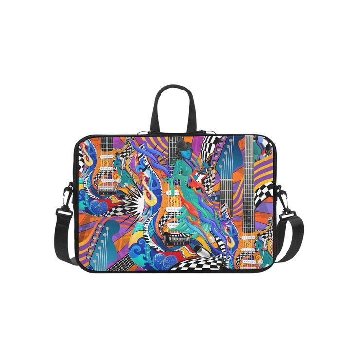 "Rock Music Electric Guitar Musician Art Laptop by Juleez Laptop Handbags 14"".Colorful Guitar Music Art. I love Music Art Colorful Guitar Musician Art by Juleez"