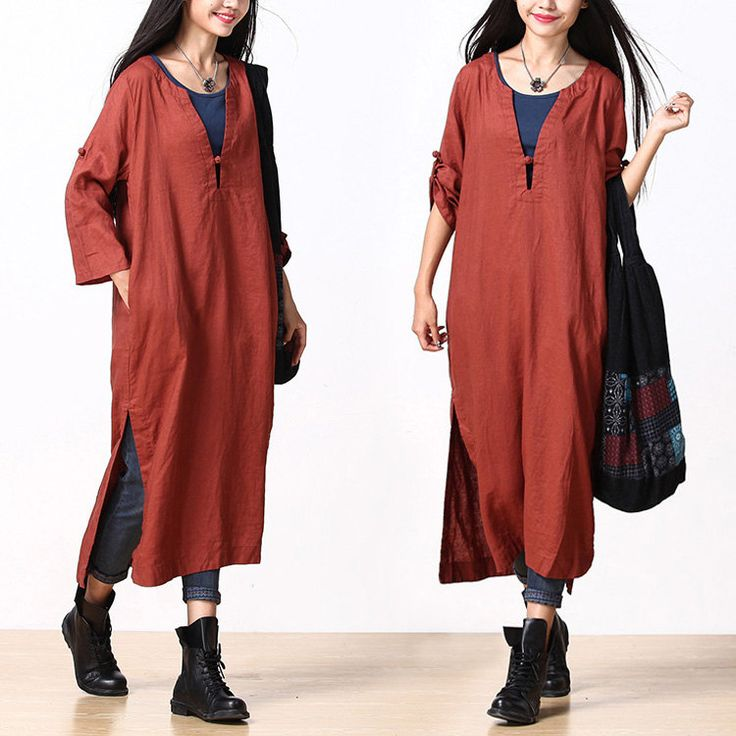 Rust red linen gown retro frog / Vneck nine points by dreamyil, $118.00
