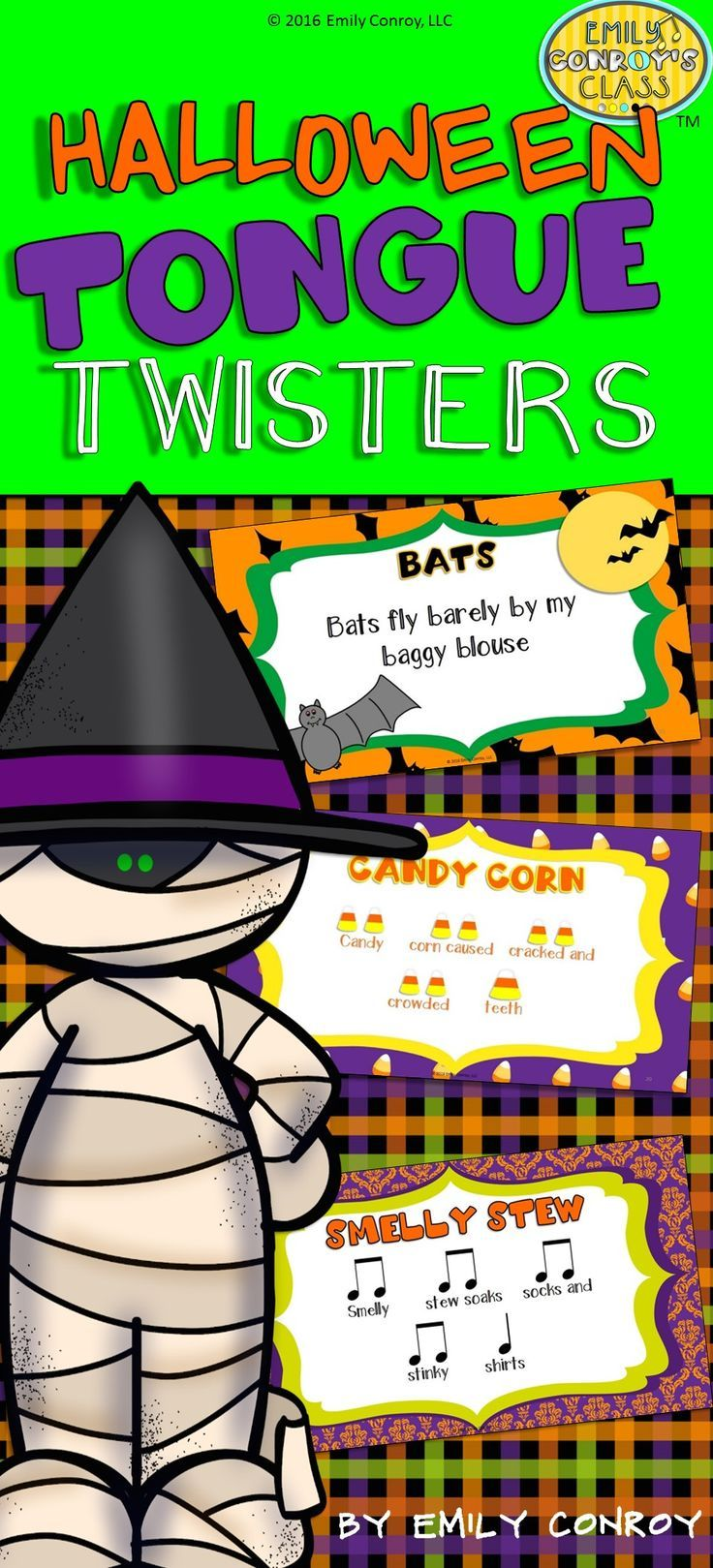 This set includes 10 Halloween Tongue Twisters as well as iconic and rhythmic notation for each one. Great for quick warm-ups or brain breaks!
