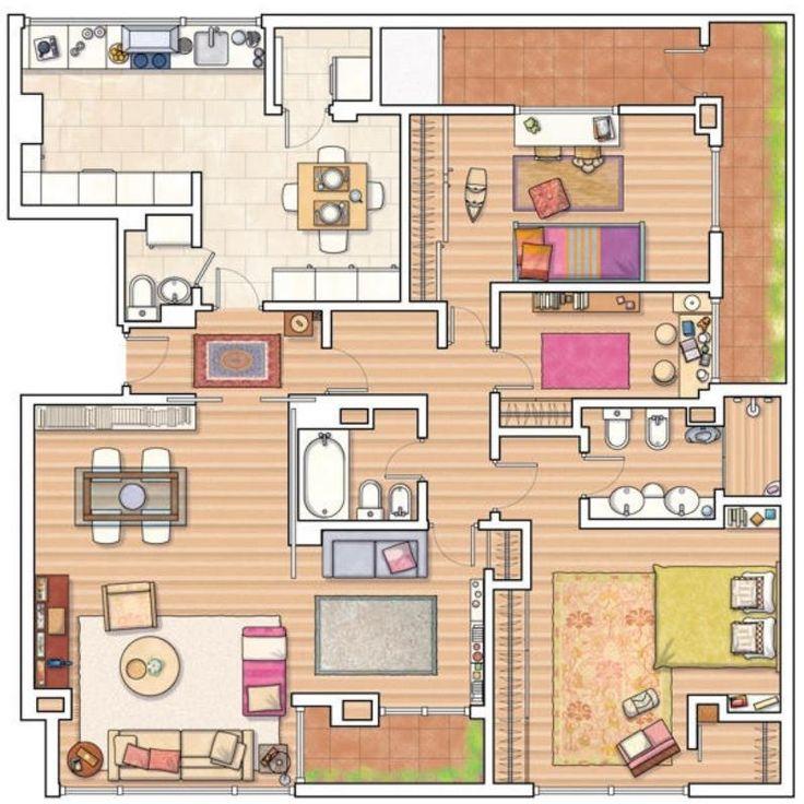 Plano de casa amplia de forma cuadrada