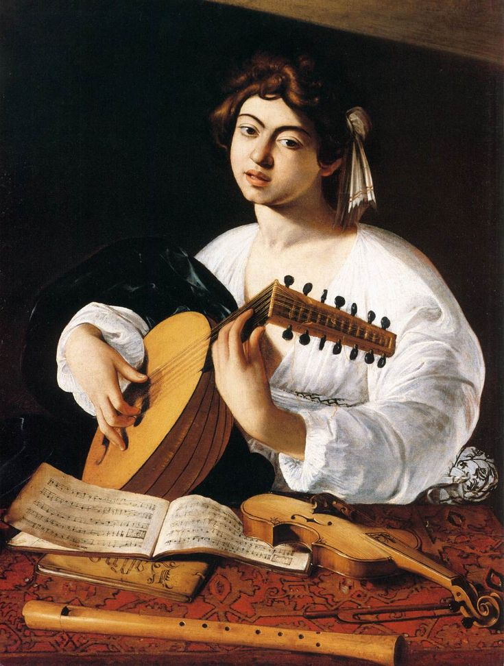 Caravaggio - The Lute Player (detail), circa 1600 Oil on canvas Metropolitan Museum of Art, New York. (14.1). Más