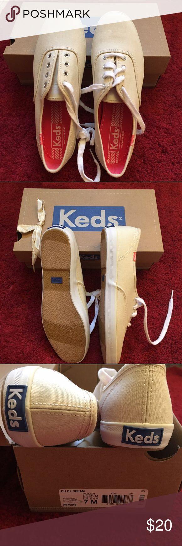 Keds sneaker in cream color Brand new never worn Keds in cream color. Still in its original package with extra shoelaces. US 7M/ UK 4.5 M/ EUR 37.5 M Keds Shoes Sneakers