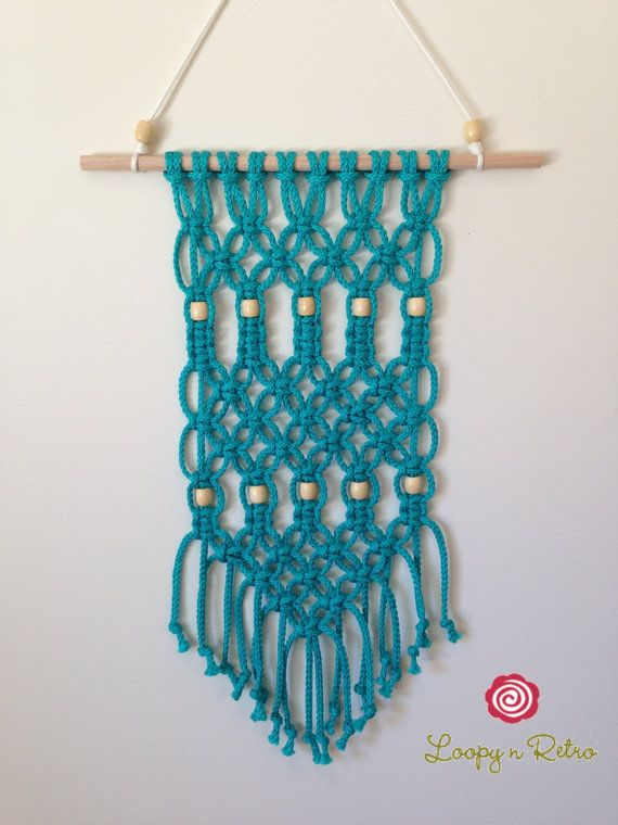 Modern Macrame Wall Hanging Turquoise Knotted Rope by LoopynRetro