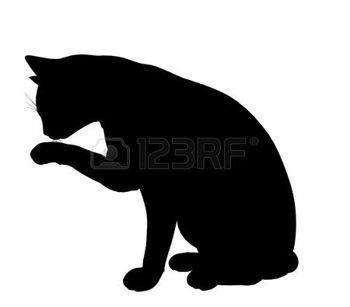 silhouet+poes%3A+Zwarte+kat+kunst+illustratie+silhouet+op+een+witte+achtergrond