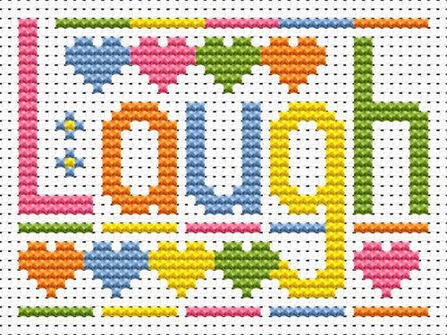 Sew Simple Laugh Word cross stitch kit