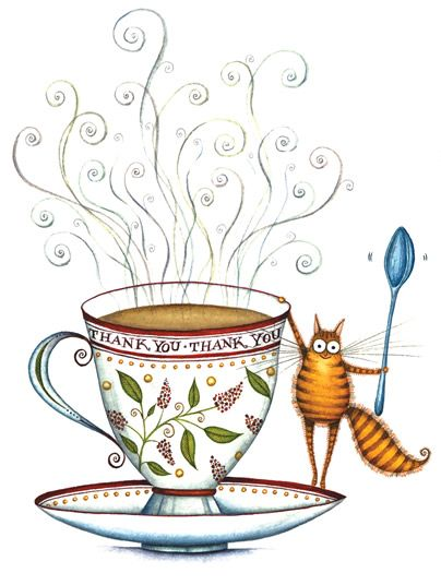 tea and cat by Clare Mackie