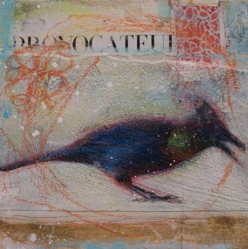 "Nikol Haskova PROVOCATEUR / Canada House Gallery - mixed media, resin, panel 6"" x 6"""