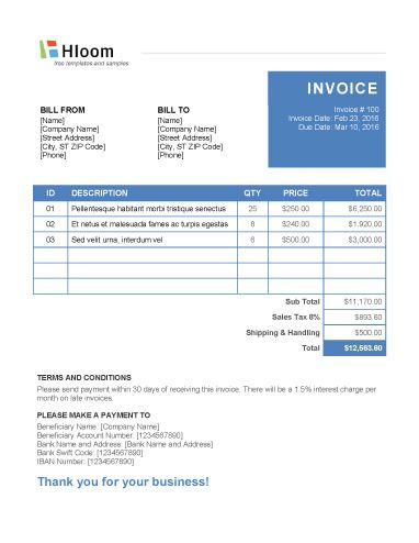 152 best Invoice Templates images on Pinterest Invoice template - bill sample microsoft