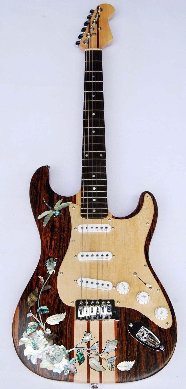 Antoniotsai Custom Thru-Neck Dragon Inlay Solid Mexican Bocote Vintage Electric Guitar
