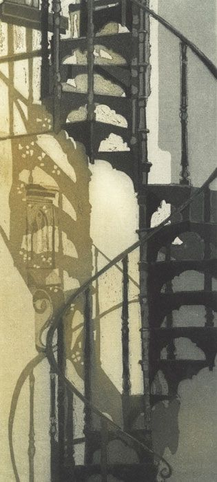 """Staircase, Aldeburgh,"" etching by Chrissy Norman"