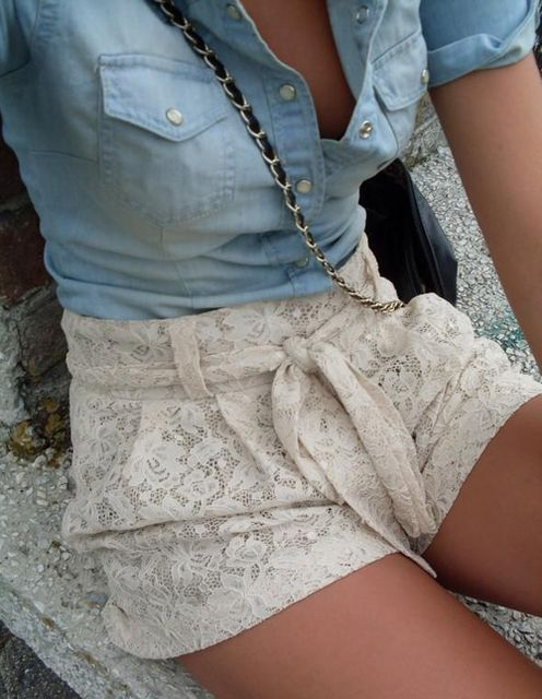 Denim and lace: Fashion, Jeans Shirts, Style, Chambray Shirts, Denim Tops, Cute Outfits, Denim Shirts, White Lace Shorts, High Waist Shorts