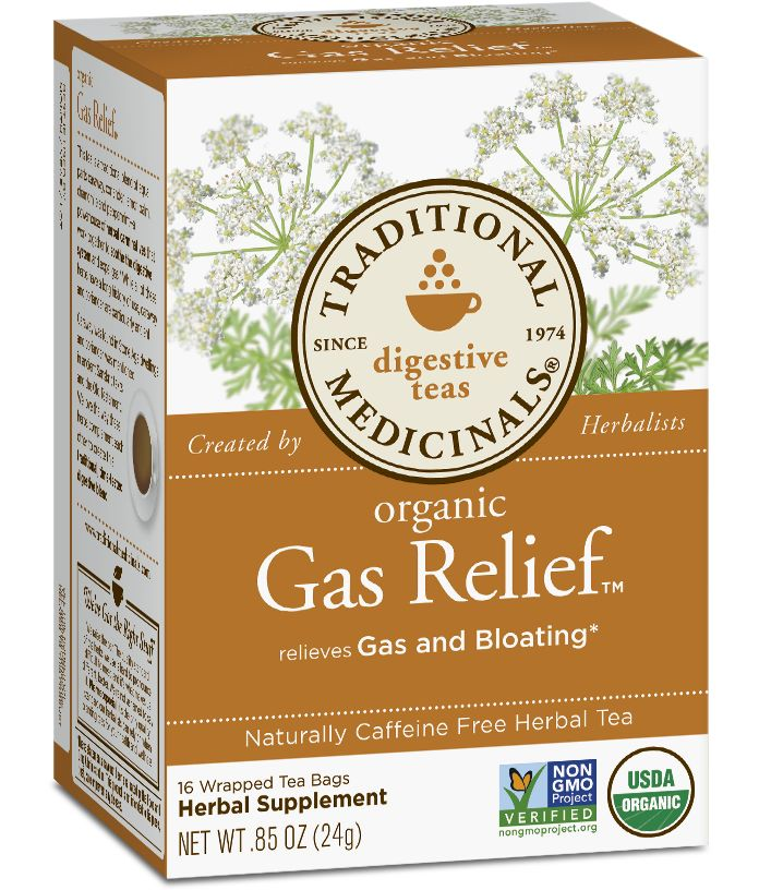 Reason to Love Let's not mince words. Gas, and all its associated feelings—bloating, pressure, feeling stuffed or too full—is a drag, not to mention embarrassing. But also, extremely common. For this uncomfortable experience, our herbalists have created an exceptionally pleasing tea. A traditional blend of caraway, coriander, chamomile, lemon balm and peppermint, this is about as soothing a cup of relief* as we can find anywhere. Ahhh….