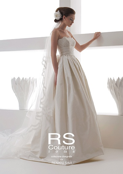 Ravenna(RS Couture)  ウエディングドレスのFOUR SIS & CO.    I love the pleats and the adorable bridal veil!!!