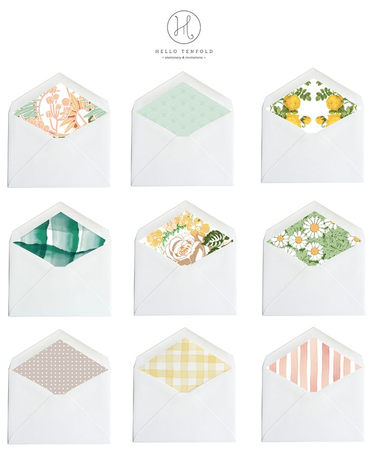 hello tenfold / collection of envelope liners for wedding invitations