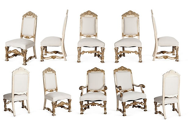 White & Gold Dining Chairs, Set Of 10