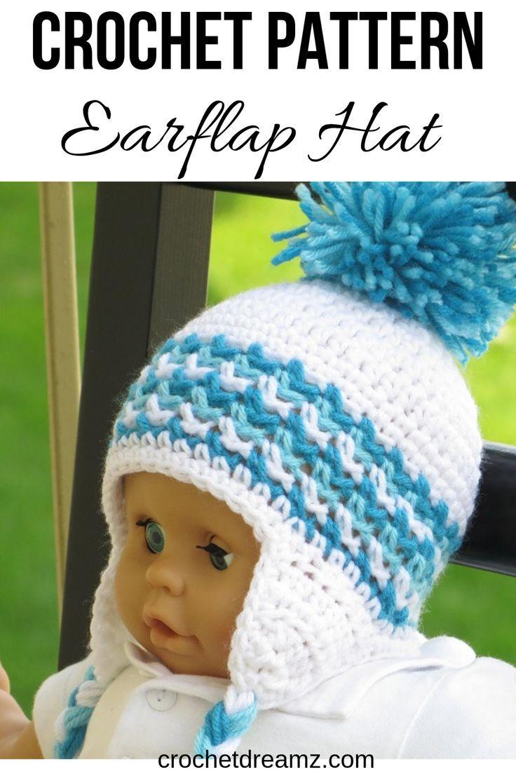 Ear Flap Hat Crochet Pattern For Boys And Girls Newborn To Man Sizes Hayden Ear Flap Hat Crochet Hats Crochet Baby Boy Hat Crochet Hat Pattern