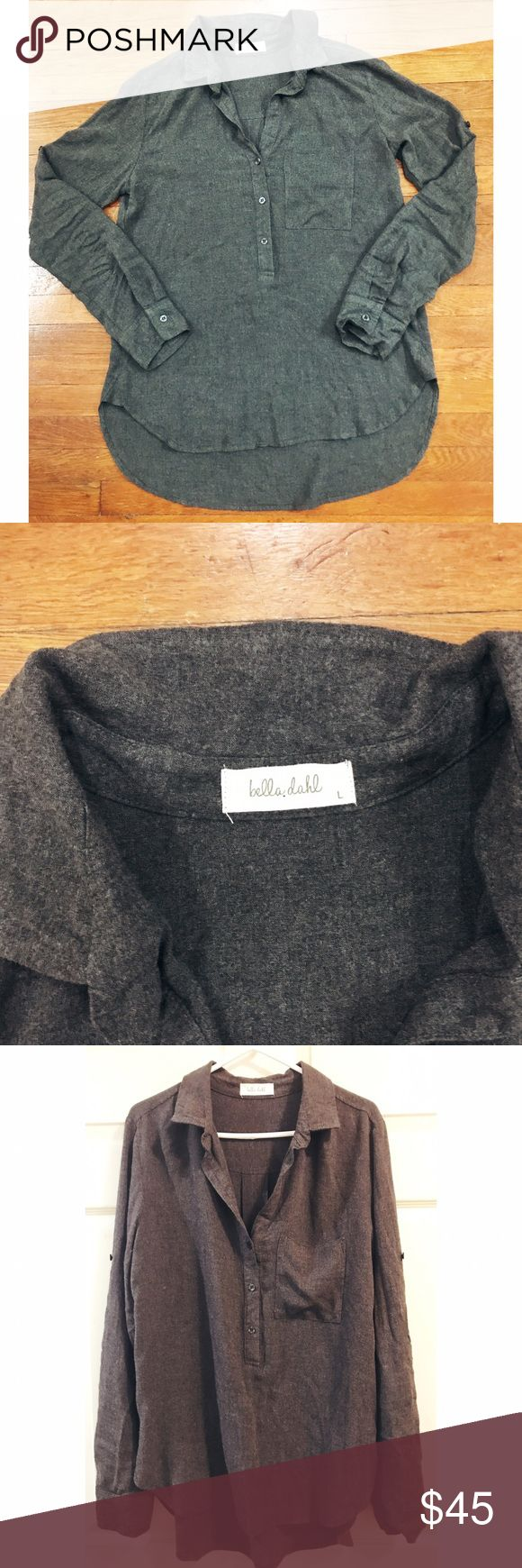 Bella Dahl • NWOT Flannel Tunic Bella Dahl • NWOT Flannel Tunic. Grey flannel-y material. Super soft! Oversized tunic with button front from the chest up. Size Large. Bella Dahl Tops Tunics