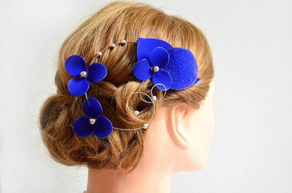Royal blue elegant and simple fascinator Royal blue hair piece Bridesmaids hair Bridal headpiece Wedding hair accessories Hair flower by #MyArtDeco