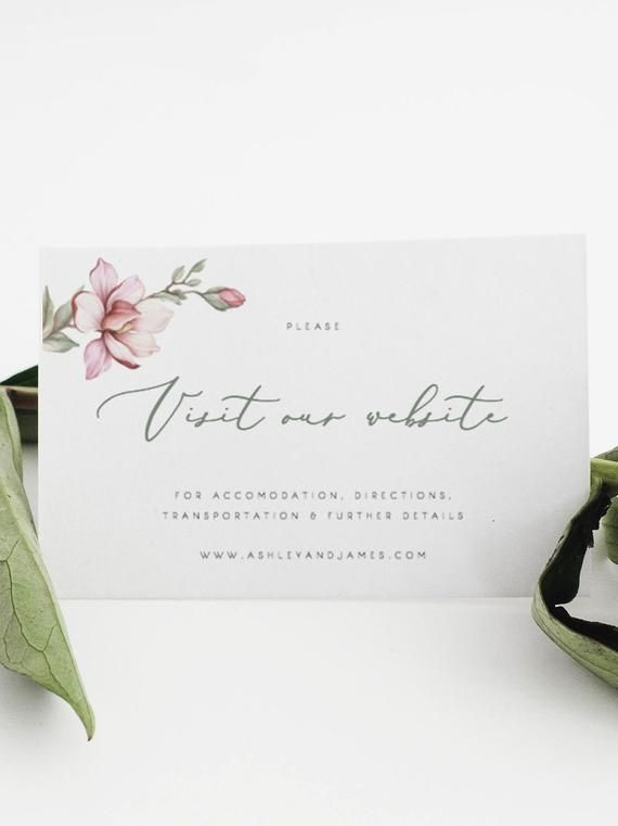 Floral Visit our website card template Greenery Magnolia invitation