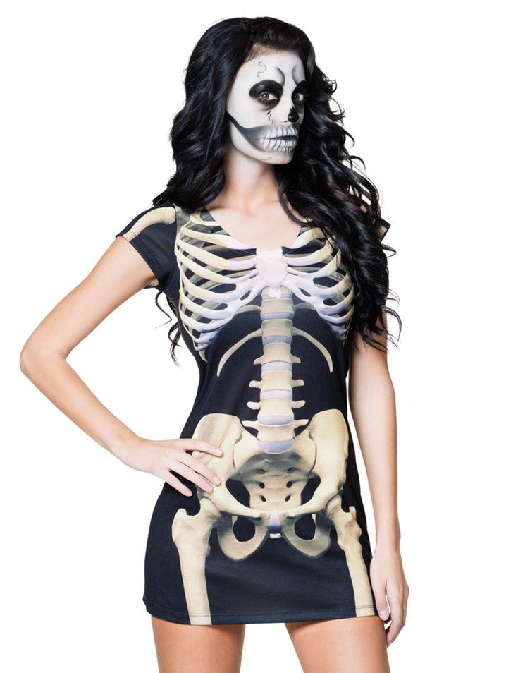 Travestimento da scheletro per donna -Halloween: questo mini vestito da scheletro sarà perfetto per una trasformazione rapida e comoda in occasione della sera del 31 Ottobre!