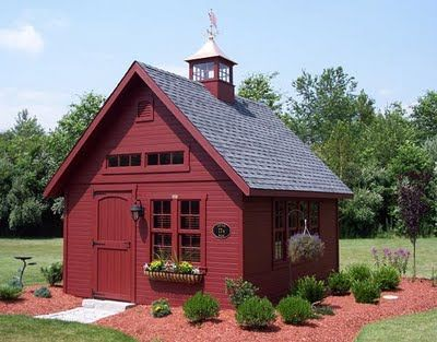 School House Garden Shed - Keep the red & do white trim or do white with a red front door.