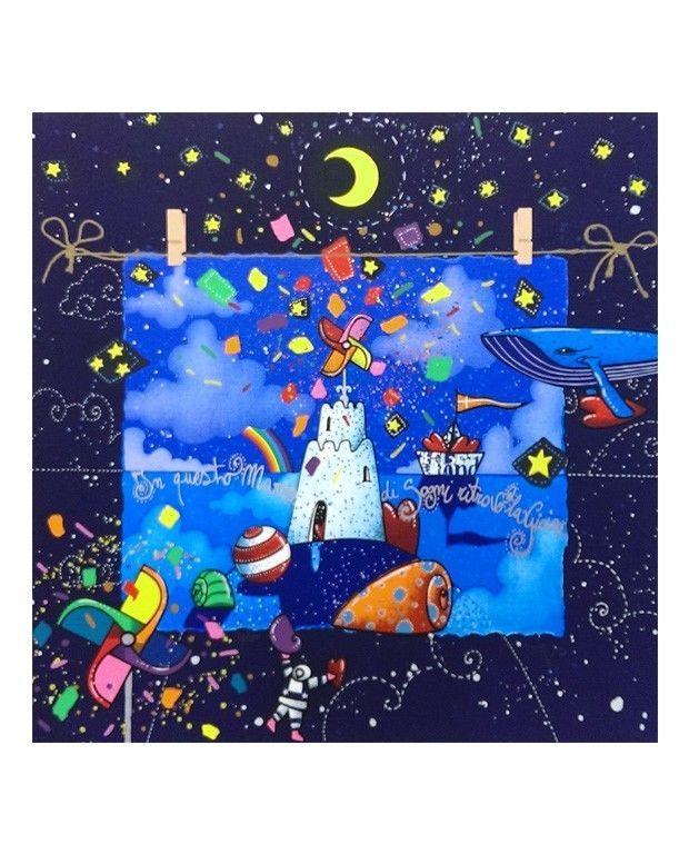ANDREA AGOSTINI - IN QUESTO MARE DI SOGNI - serigrafia - dimensioni 40 x 40