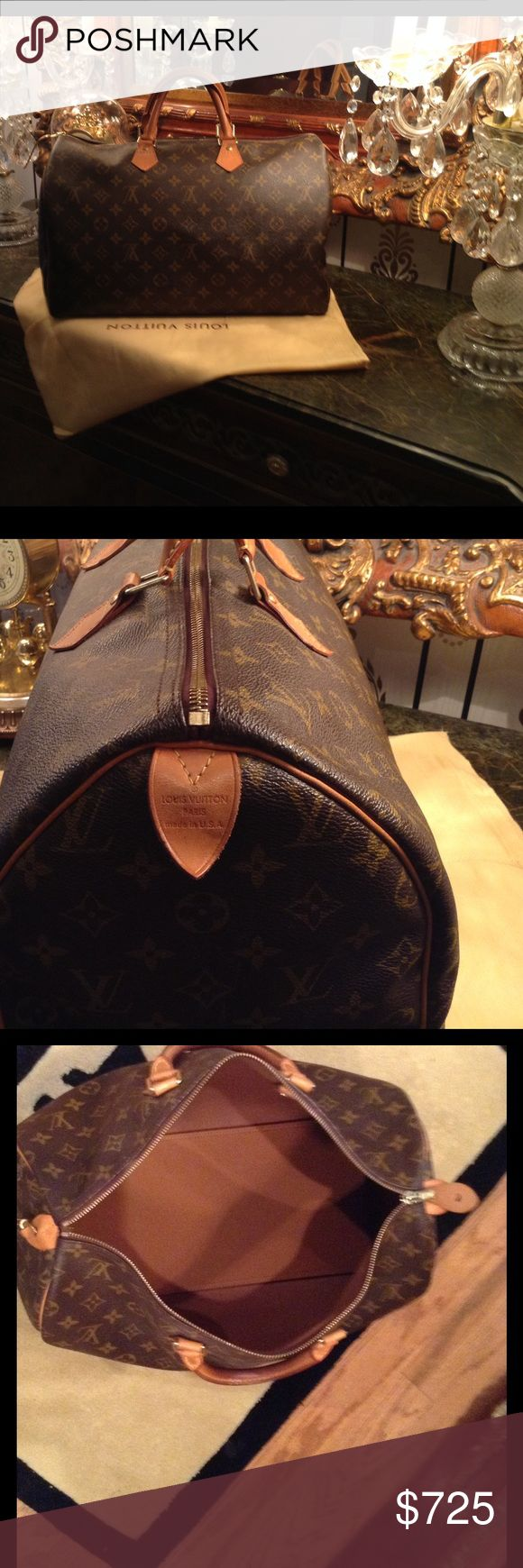100% Authentic Louis Vuitton Speedy 40 Brown n tan monogram coated canvas Louis Vuitton Speedy 40 from my own pre-loved collection. Brass hardware, tan vachetta leather accents, dual rolled handles, brown canvas lining, single pocket at interior wall with zipped closure at top. Patina leather. Date code reads SD2151. Shop authentic designer handbag by Louis Vuitton. Non Smoking home.  Excellent pre-loved condition. No tears, stains, smells. Louis Vuitton Bags