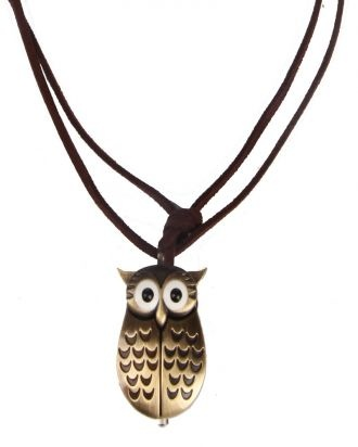 Gold Owl Pocket Watch Necklace