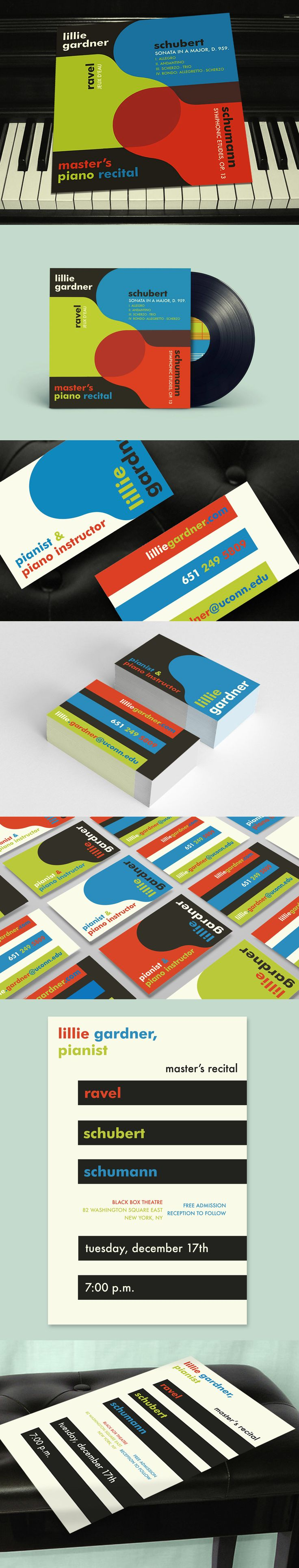 Album artwork, poster, and business card designs for classical pianist, Lillie Gardner. Through the use of bold, colorful graphic shapes that reference the instrument itself, this design reflects the playful energy of the music in a sophisticated style. #graphicdesign #design #branding #packaging #businesscards #albumart #poster #typography #color #piano #classical