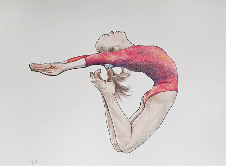 Mixed media: *Female Gymnast 2*; coloured pencils, graphite, ink; 28 x 38 cms.