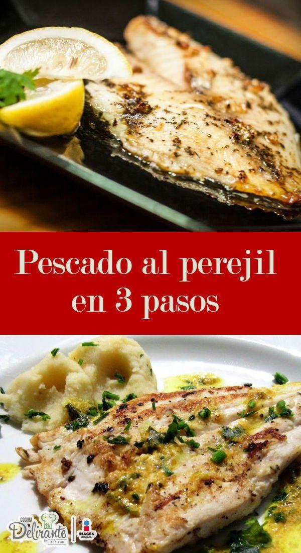 Pescado con perejil y mantequilla al horno en 3 pasos
