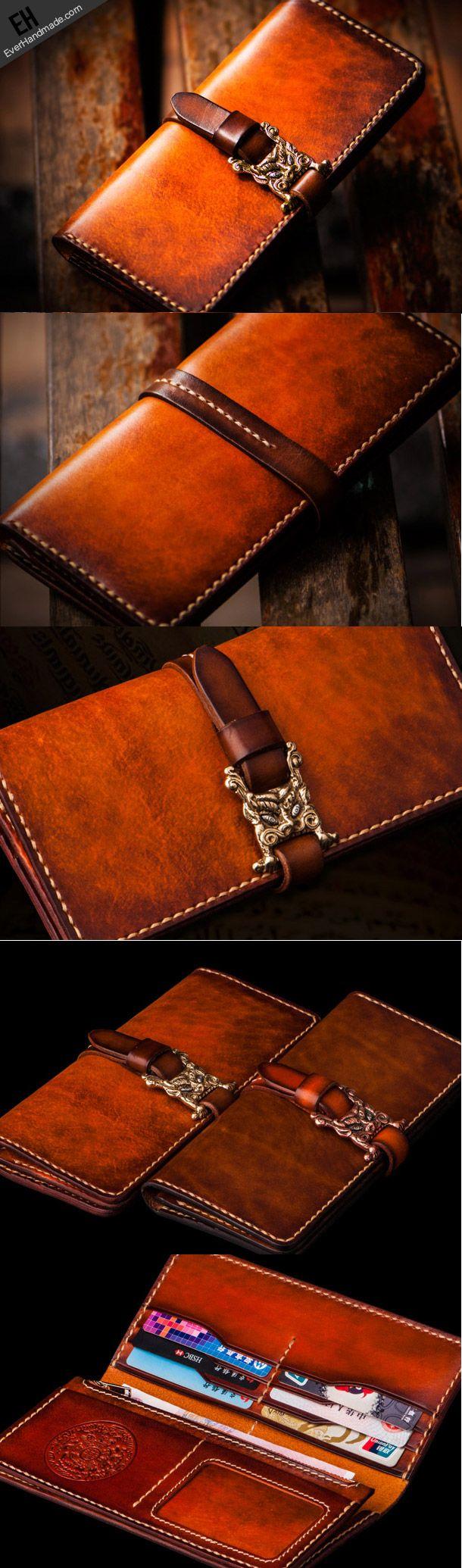 Handmade leather long clutch biker trucker chain wallet coffee brown leather men wallet