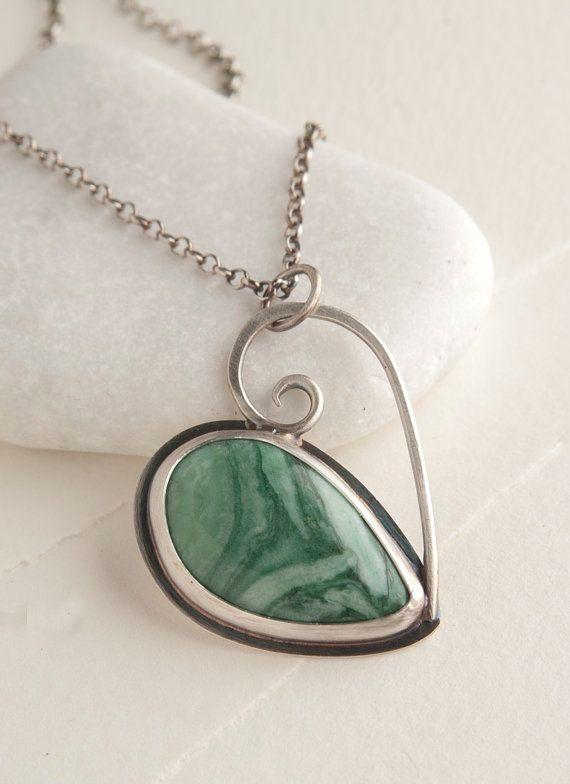 Africian Grossularite Garnet Heart Pendant by SilverRockDesign, $92.00
