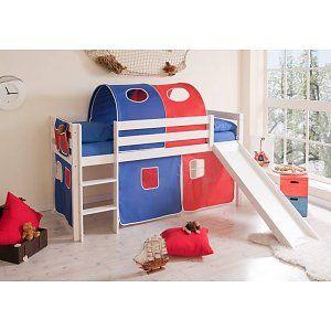 Halfhoogslaper met glijbaan Manuel - massief grenen - wit gelakt - kleur blauw-rood - zonder tunnel