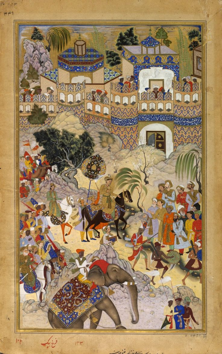 Akbar's Triumphal Entry into Surat, Gujarat. Akbarnama, 1590-95, Victoria and Albert Museum, London