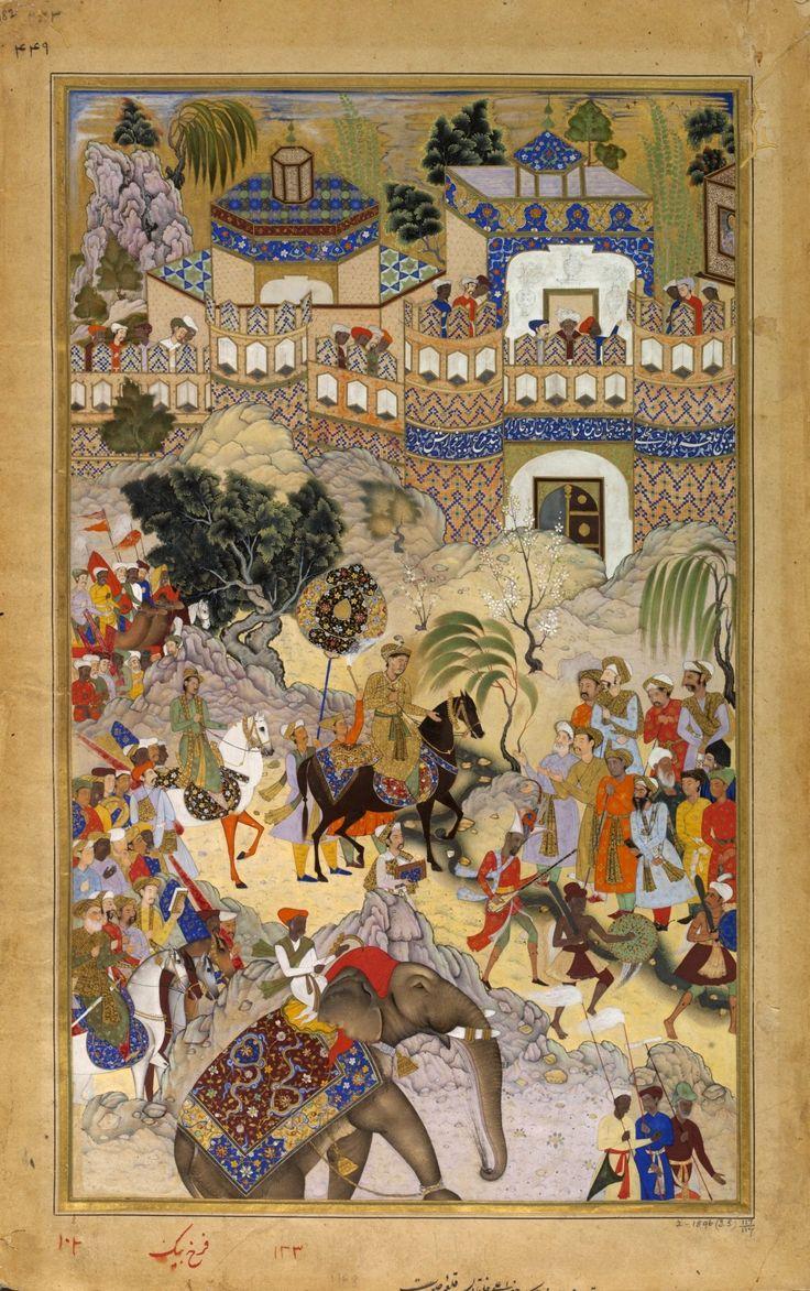 Akbar's Triumphal Entry into Surat, Gujarat. Akbarnama, 1590-95, Victoria and Albert Museum, London