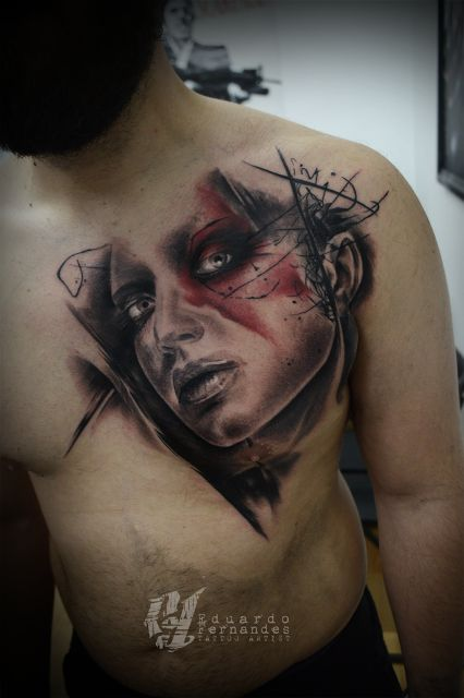 Chest Piece Tattoo Trash Polka